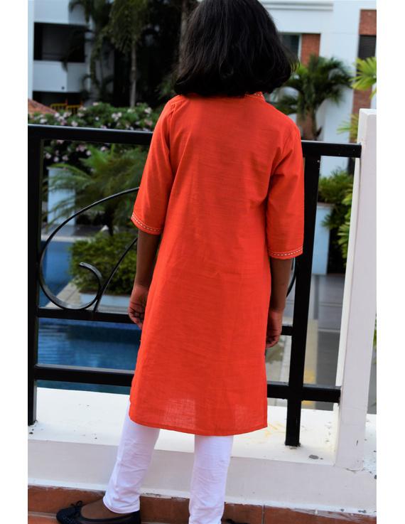Orange Overlapped V Collar Kurta For Girls: Lk365A-(6-7)-1