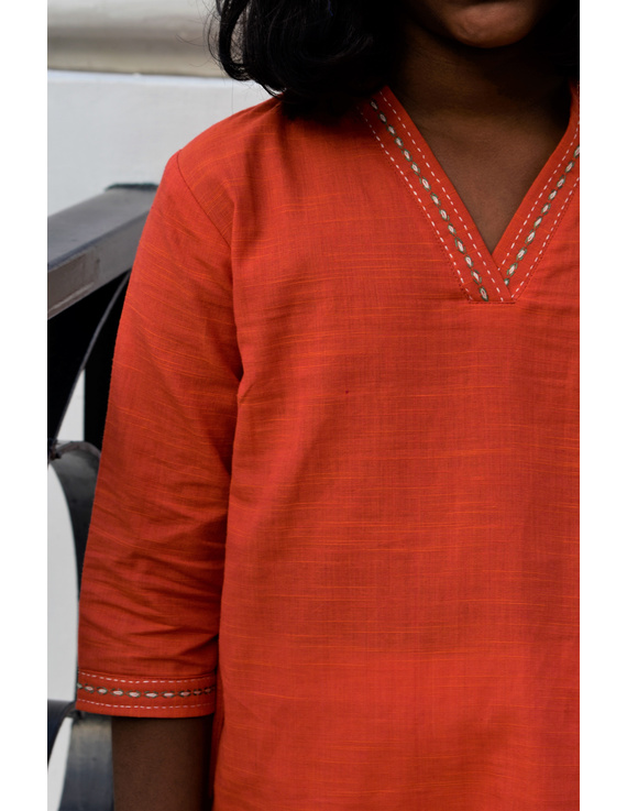 Orange Overlapped V Collar Kurta For Girls: Lk365A-(6-7)-2