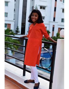 Orange Overlapped V Collar Kurta For Girls: Lk365A-LK365A-8-9-sm