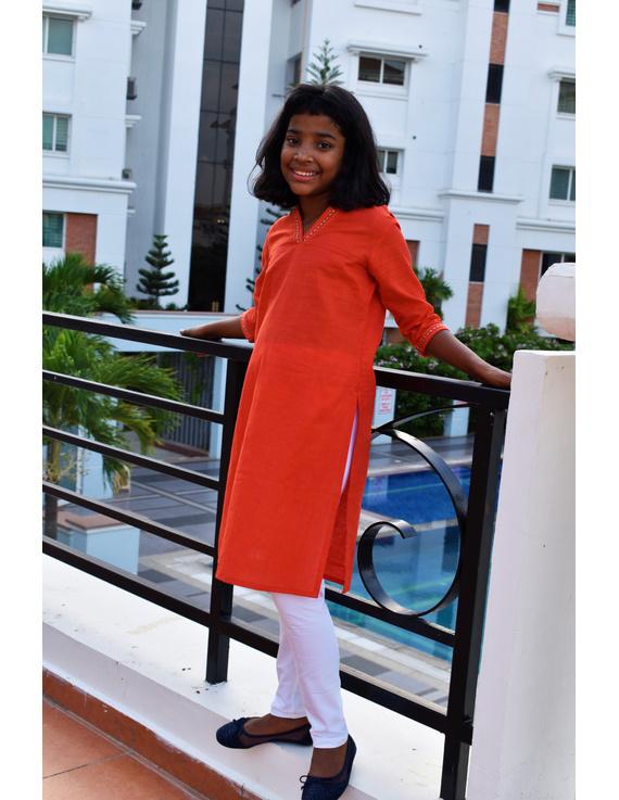 Orange Overlapped V Collar Kurta For Girls: Lk365A-LK365A-8-9