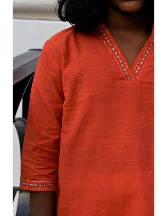 Orange Overlapped V Collar Kurta For Girls: Lk365A-(8-9)-2