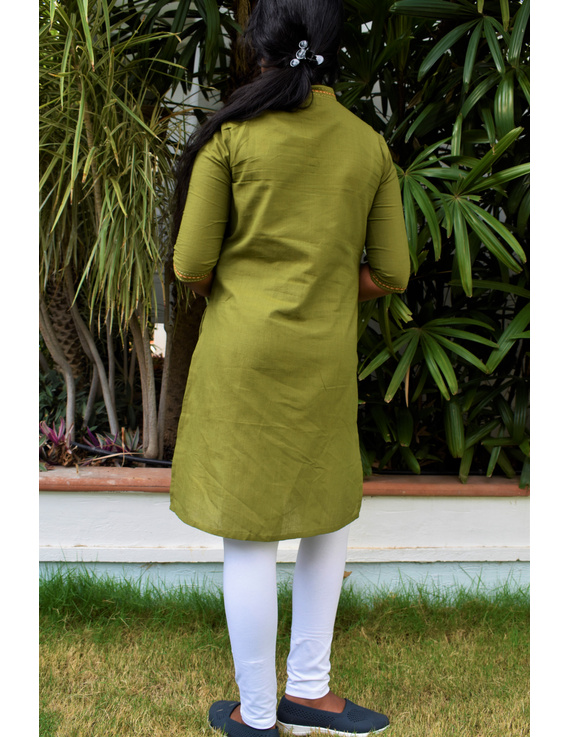 Pista Green Overlapped V Collar Kurta For Girls: Lk365C-LK365C-6-7