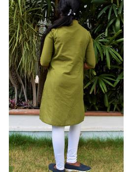 Pista Green Overlapped V Collar Kurta For Girls: Lk365C-LK365C-10-11-sm