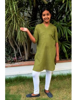 Pista Green Overlapped V Collar Kurta For Girls: Lk365C-(10-11)-1-sm