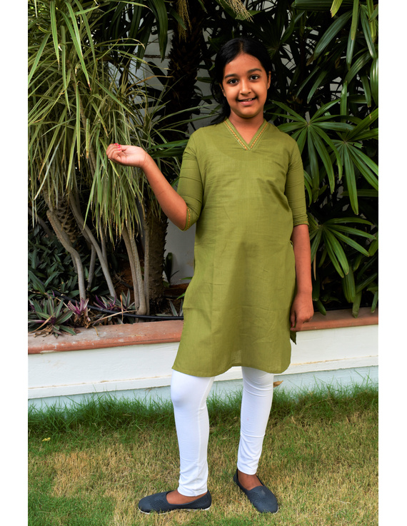 Pista Green Overlapped V Collar Kurta For Girls: Lk365C-(10-11)-1