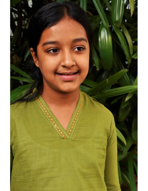 Pista Green Overlapped V Collar Kurta For Girls: Lk365C-(10-11)-2