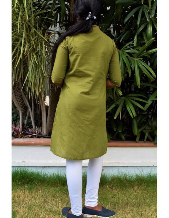 Pista Green Overlapped V Collar Kurta For Girls: Lk365C-LK365C-12-13