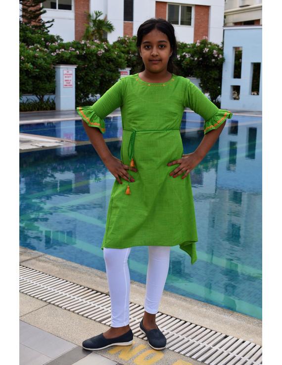 Green Hand Embroidered Kurta With Flared Sleeves: Lk385B-LK385B-4-5
