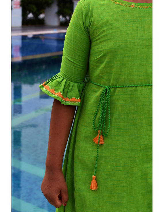 Green Hand Embroidered Kurta With Flared Sleeves: Lk385B-(4-5)-1