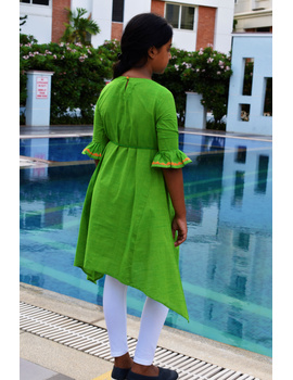 Green Hand Embroidered Kurta With Flared Sleeves: Lk385B-(6-7)-2-sm