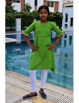 Green Hand Embroidered Kurta With Flared Sleeves: Lk385B-LK385B-10-11-sm