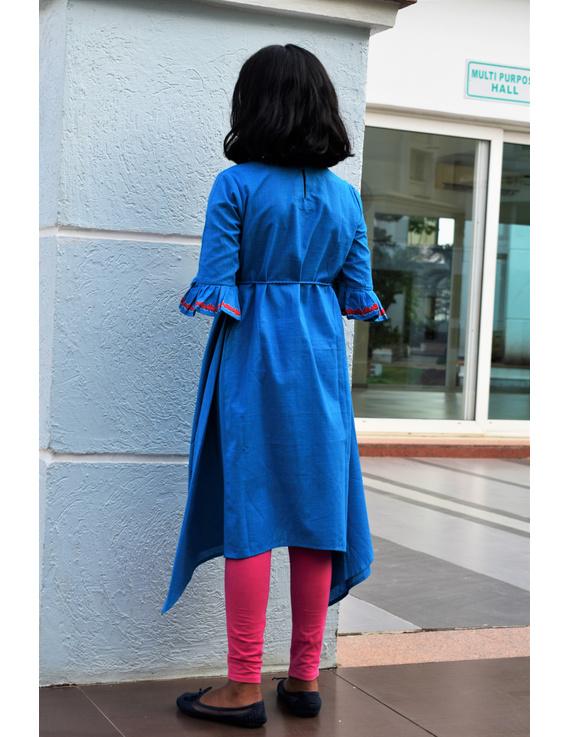 Blue Kurta With Flared Sleeves For Girls: Lk385C-(6-7)-1