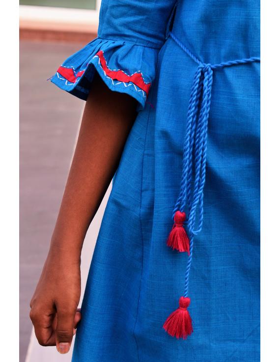 Blue Kurta With Flared Sleeves For Girls: Lk385C-(6-7)-2