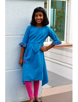 Blue Kurta With Flared Sleeves For Girls: Lk385C-LK385C-8-9-sm