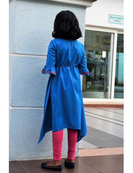 Blue Kurta With Flared Sleeves For Girls: Lk385C-(8-9)-1-sm
