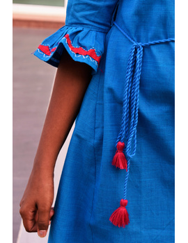 Blue Kurta With Flared Sleeves For Girls: Lk385C-(8-9)-2-sm