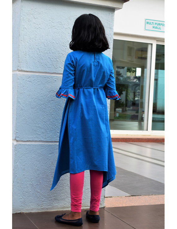 Blue Kurta With Flared Sleeves For Girls: Lk385C-(10-11)-1