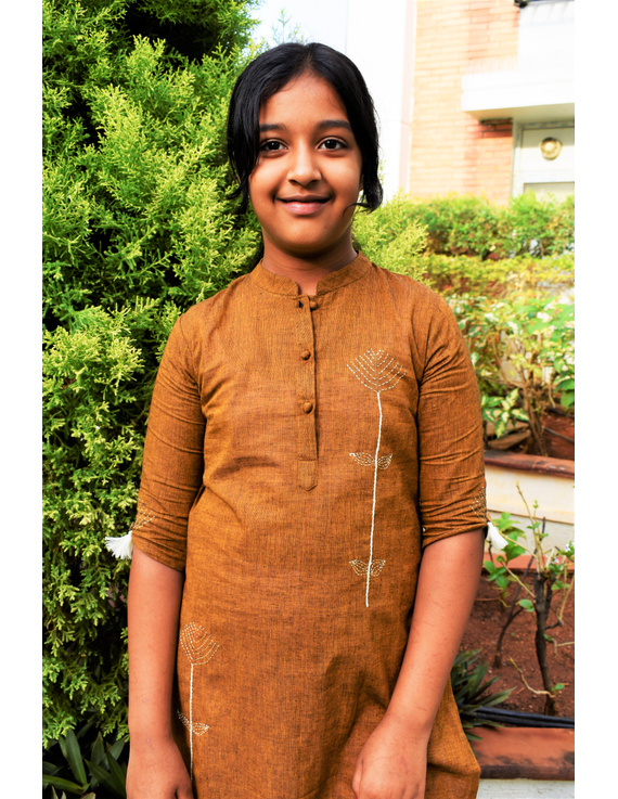 Mustard Mandarin Collar Kurta For Girls: Lk405B-(6-7)-1