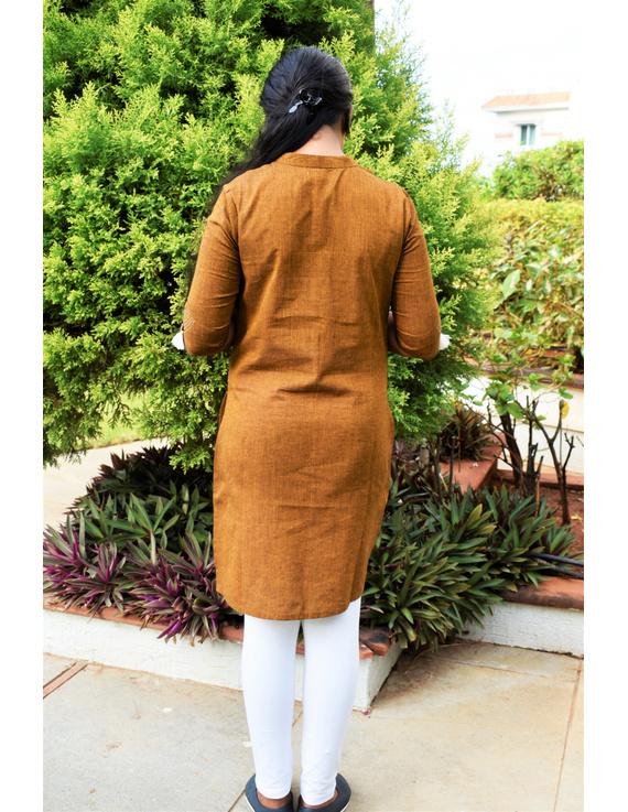 Mustard Mandarin Collar Kurta For Girls: Lk405B-(8-9)-2