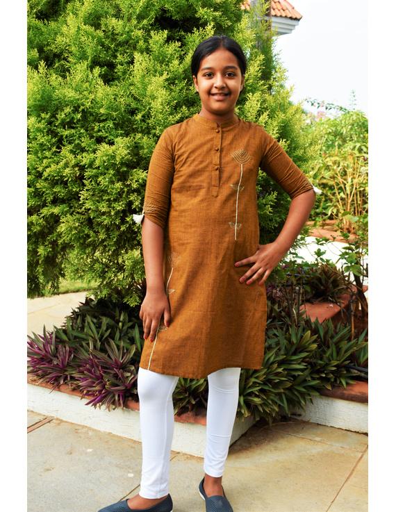 Mustard Mandarin Collar Kurta For Girls: Lk405B-LK405B-10-11
