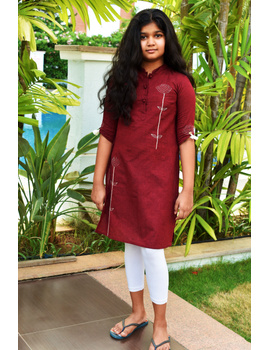 Maroon Mandarin Collar Kurta For Girls: Lk405C-LK405C-6-7-sm