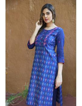 Deep Blue Silk Kurta With Matching Pants: Fv140A-L-1-sm