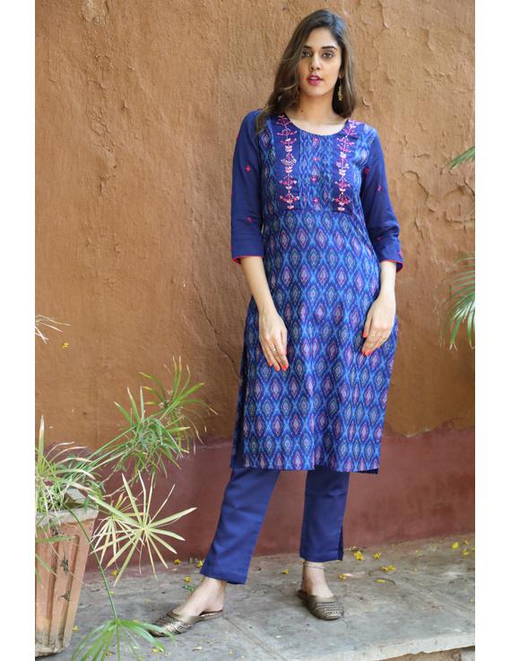 Deep Blue Silk Kurta With Matching Pants: Fv140A-FV140A-XL