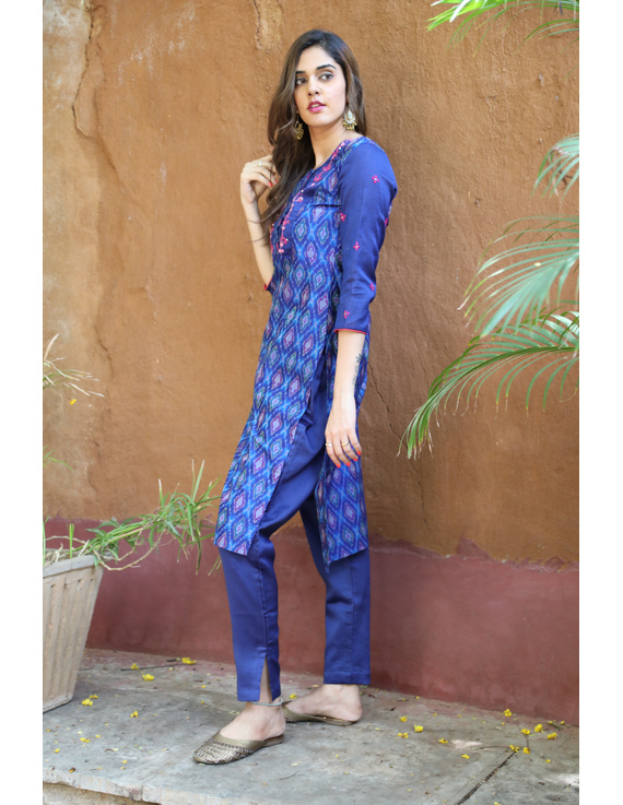 Deep Blue Silk Kurta With Matching Pants: Fv140A-XL-2