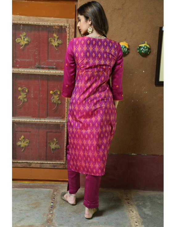 Maroon Silk Kurta With Matching Pants: Fv140B-M-2
