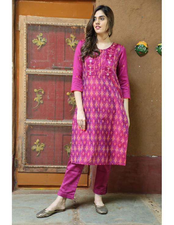 Maroon Silk Kurta With Matching Pants: Fv140B-FV140B-XL