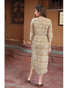 Mustard Yellow Kalamkari Cotton Dress: Ld620B-L-3-sm