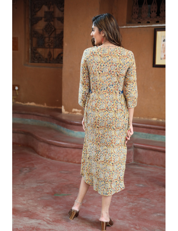 Mustard Yellow Kalamkari Cotton Dress: Ld620B-L-3