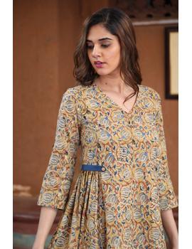 Mustard Yellow Kalamkari Cotton Dress: Ld620B-L-2-sm