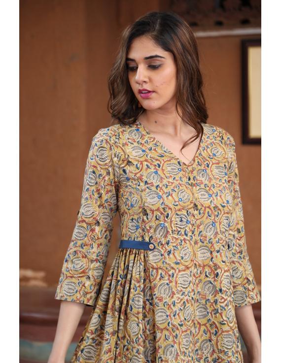 Mustard Yellow Kalamkari Cotton Dress: Ld620B-L-2