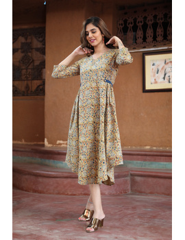 Mustard Yellow Kalamkari Cotton Dress: Ld620B-L-1-sm