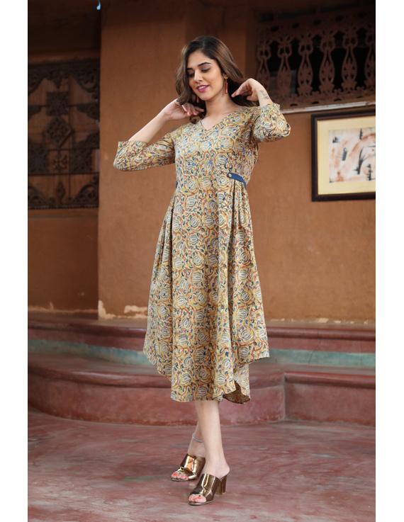 Mustard Yellow Kalamkari Cotton Dress: Ld620B-L-1