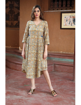 Mustard Yellow Kalamkari Cotton Dress: Ld620B-LD620B-L-sm