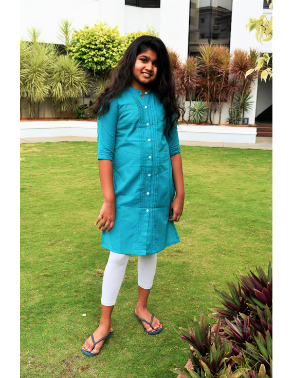Straight Kurta With Pintucks In Blue Mangalagiri: Lk415A-LK415A-4-5