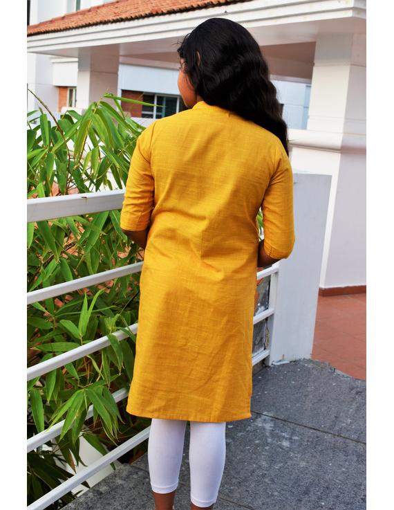 Yellow Girls Kurta With Pintucks:  Lk415C-(4-5)-1