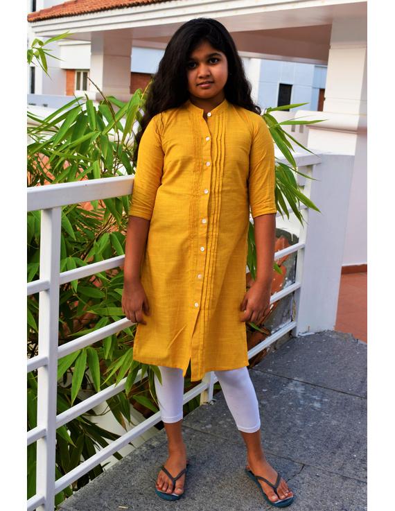 Yellow Girls Kurta With Pintucks:  Lk415C-LK415C-4-5