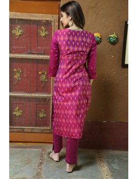 Maroon Silk Kurta With Matching Pants: Fv140B-FV140B-S-sm