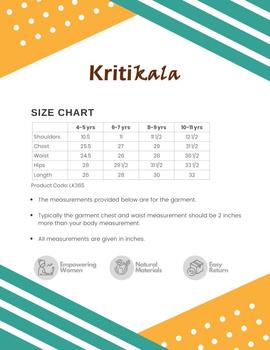Orange Overlapped V Collar Kurta For Girls: Lk365A-(4-5)-3-sm