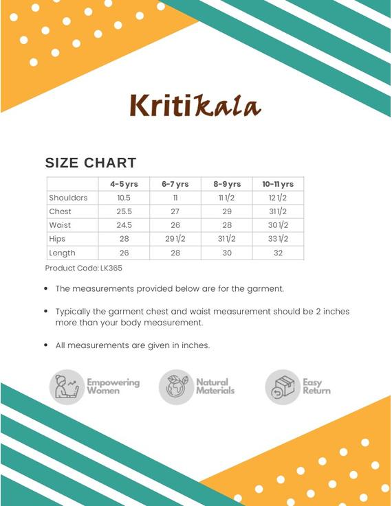 Orange Overlapped V Collar Kurta For Girls: Lk365A-(4-5)-3