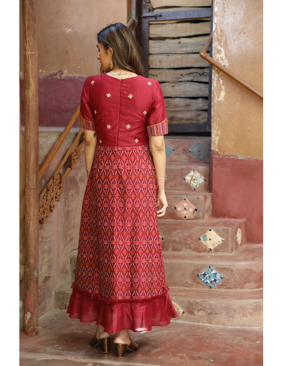 Maroon chanderi and SICO ikat gown with hand embroidery: FV130B-XL-3