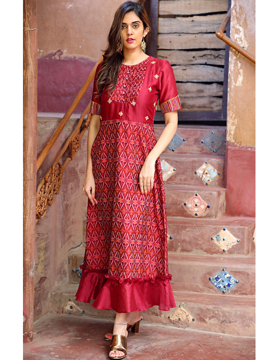 Maroon chanderi and SICO ikat gown with hand embroidery: FV130B-FV130B-XL