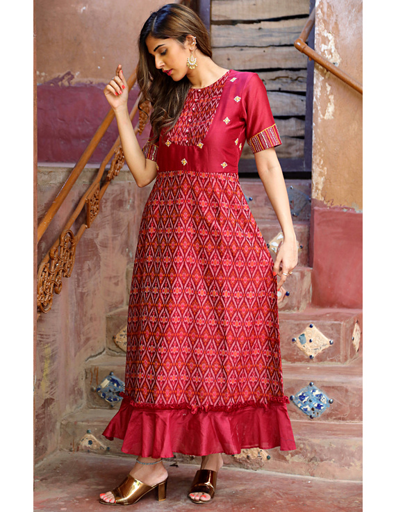 Maroon chanderi and SICO ikat gown with hand embroidery: FV130B-XL-2