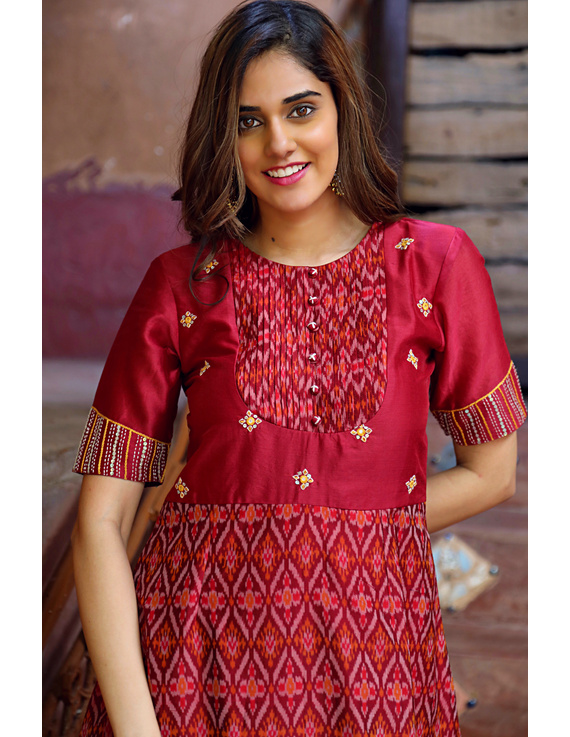 Maroon chanderi and SICO ikat gown with hand embroidery: FV130B-XL-1