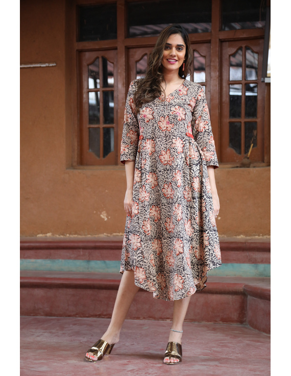 Black Floral Block Print Kalamkari Dress: Ld620A-LD620A-M