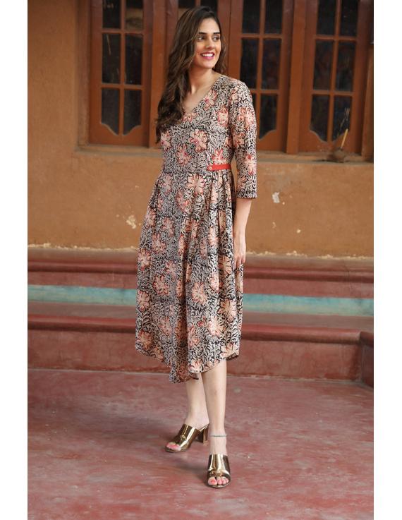 Black Floral Block Print Kalamkari Dress: Ld620A-L-1