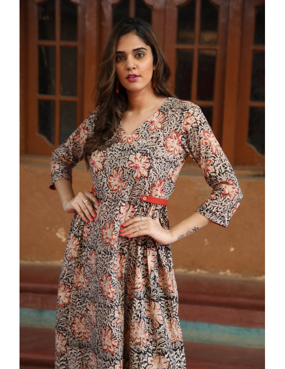 Black Floral Block Print Kalamkari Dress: Ld620A-L-2